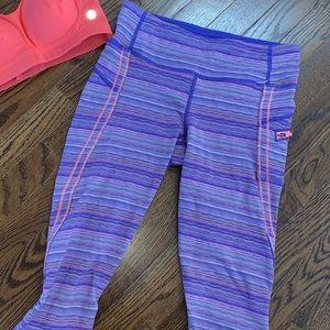 Lululemon purple orange striped crop leggings